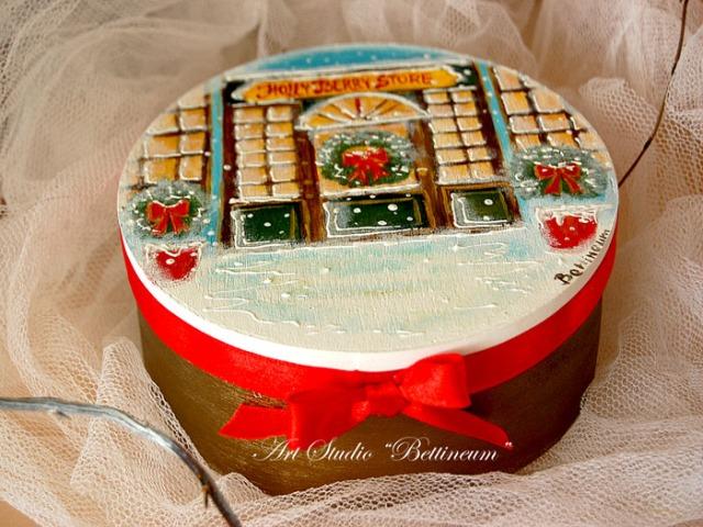 """Pudełko łobianowe 12 cm """"Świąteczny sklep"""" Malowane ręcznie"""